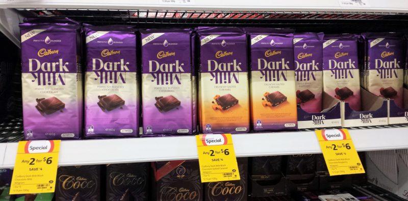 Cadbury 160g Dark Milk, Crunchy Salted Caramel, Sweet Zingy Raspberry