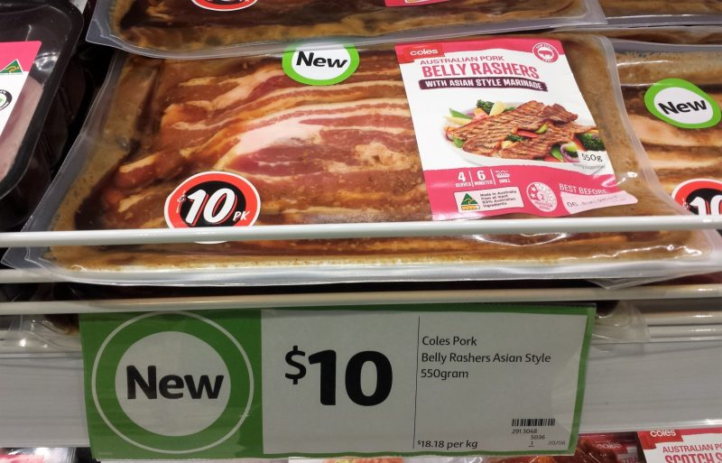 Coles 550g Pork Belly Rashers Asian Style Marinade