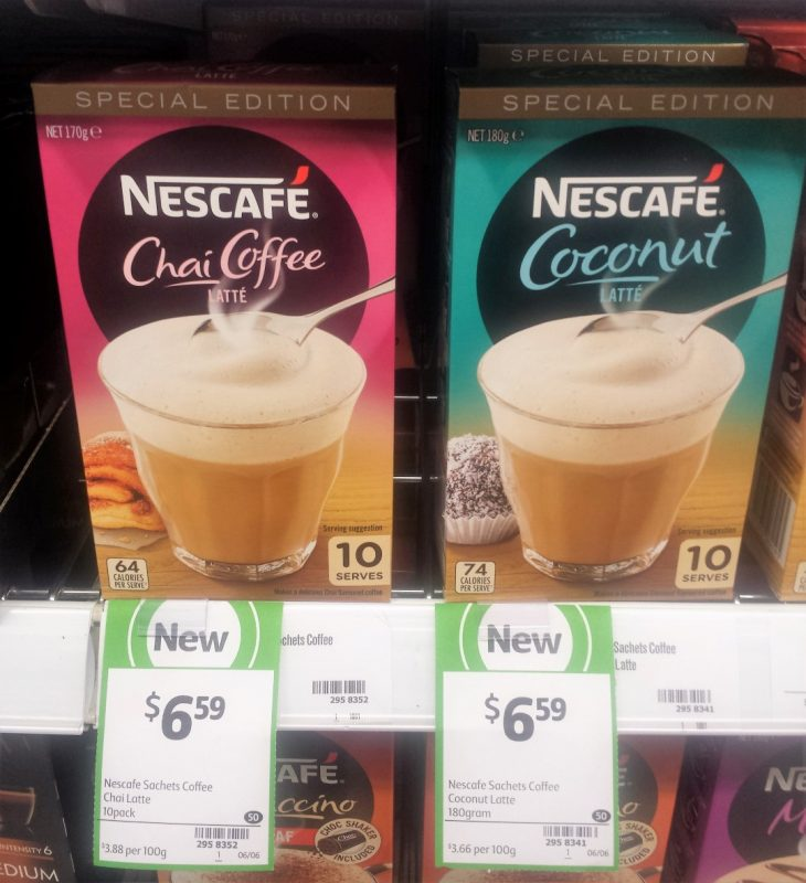 Nescafe 170g Chai Coffee Latte, 180g Coconut Latte