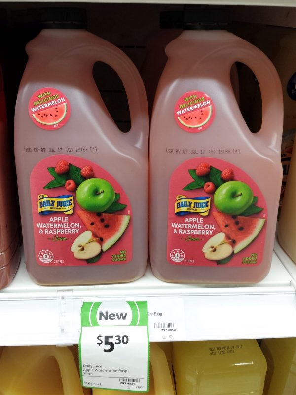 The Daily Juice Company 2L Apple, Watermelon & Raspberry Juice