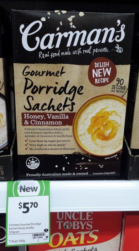 Carman's 320g Gourmet Porridge Sachets Honey, Vanilla & Cinnamon