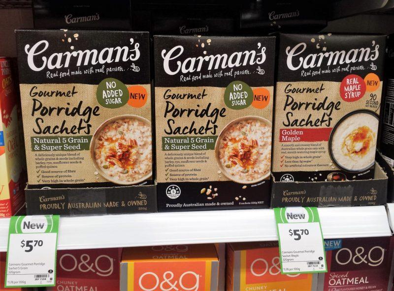 Carman's 320g Gourmet Porridge Sachets Natural 5 Grain & Super Seed, Golden Maple