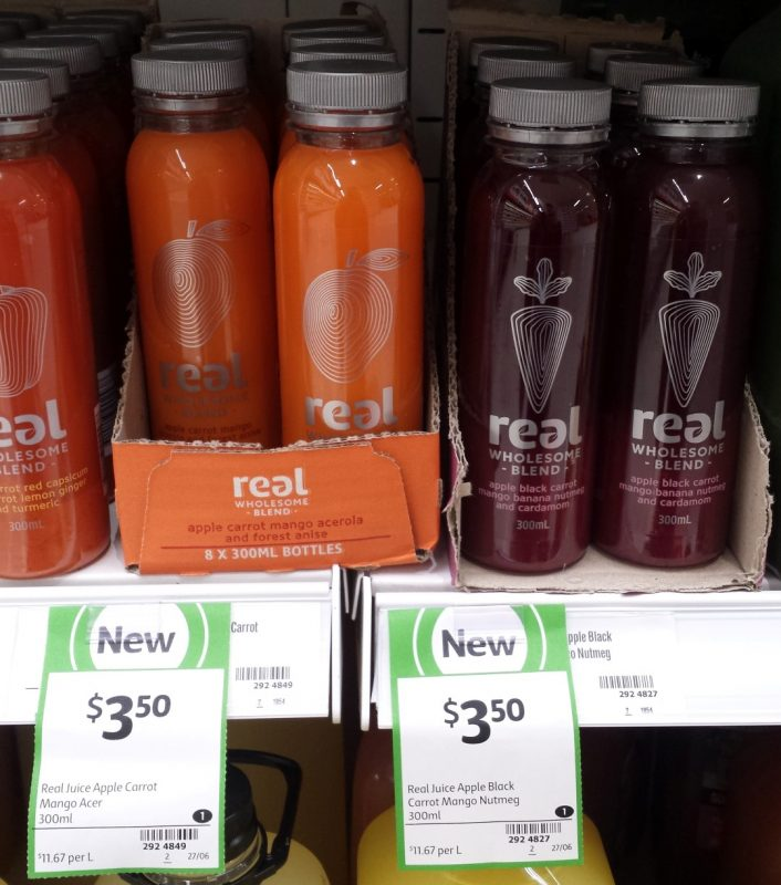 Real Juice 300mL Apple Carrot Aceroia & Forest Anise, Apple Black Carrot Mango Banana Nutmeg And Cardamom