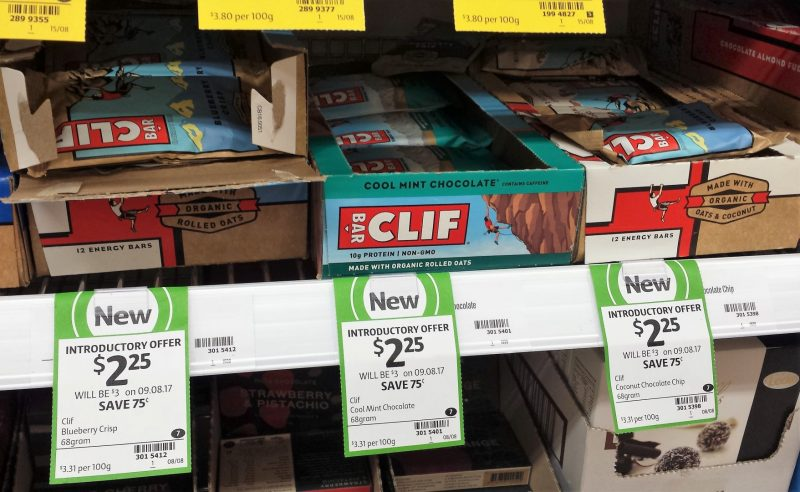 Clif Bar 68g Blueberry Crisp, Cool Mint Chocolate, Coconut Chocolate Chip