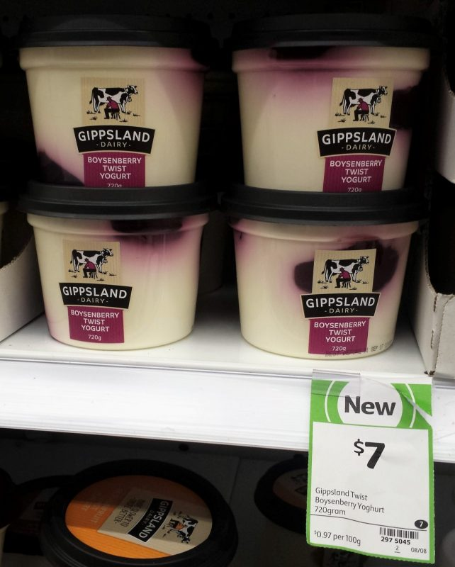 Gippsland Dairy 720g Yogurt Boysenberry Twist