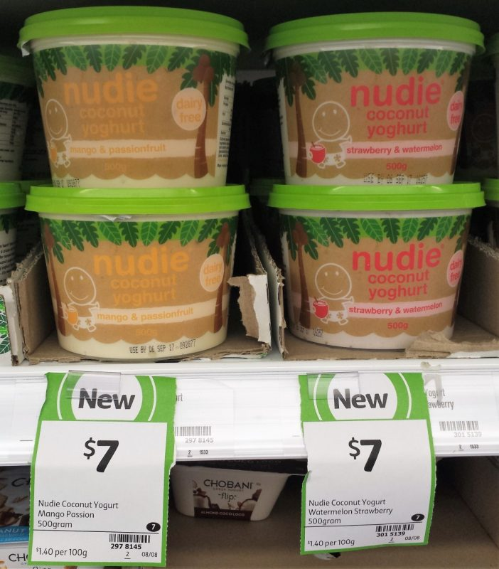 Nudie 500g Coconut Yoghurt Mango & Passionfruit, Strawberry & Watermelon