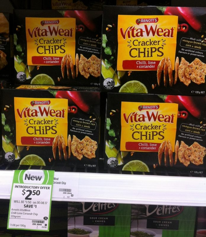 Aanott's 120g VitaWeat Cracker Chips Chill, Lime & Coriander