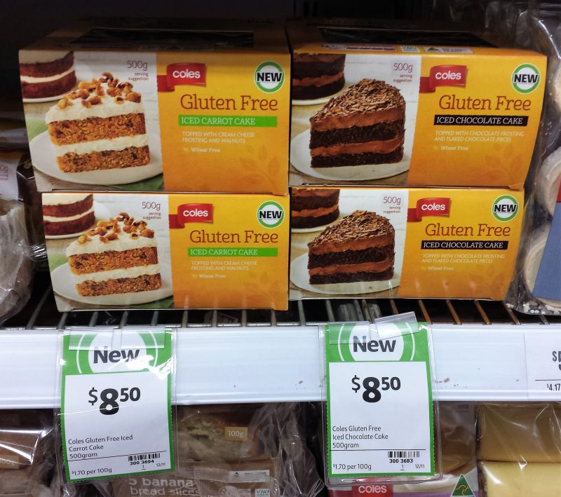 Coles 500g Gluten Free Iced Carrot Cake, Iced Chocolate Cake