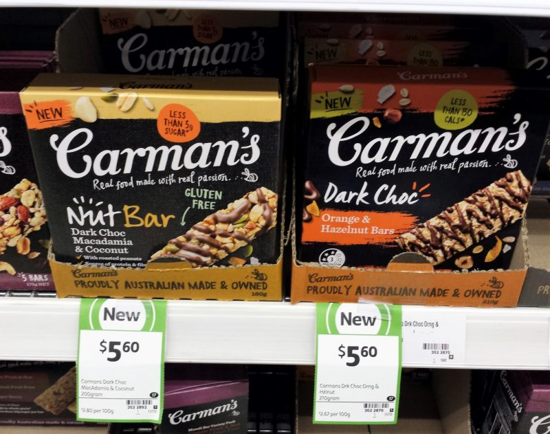Carman's 160g Nut Bar Dark Choc Macadamia & Coconut, 210g Orange & Hazelnut Bars