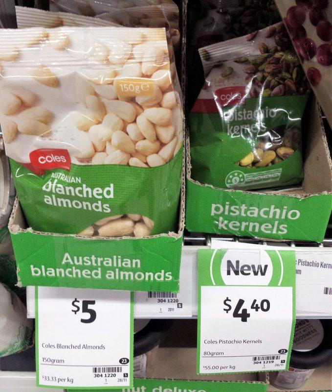 Coles 150g Blanched Almonds, 80g Pistachio Kernels