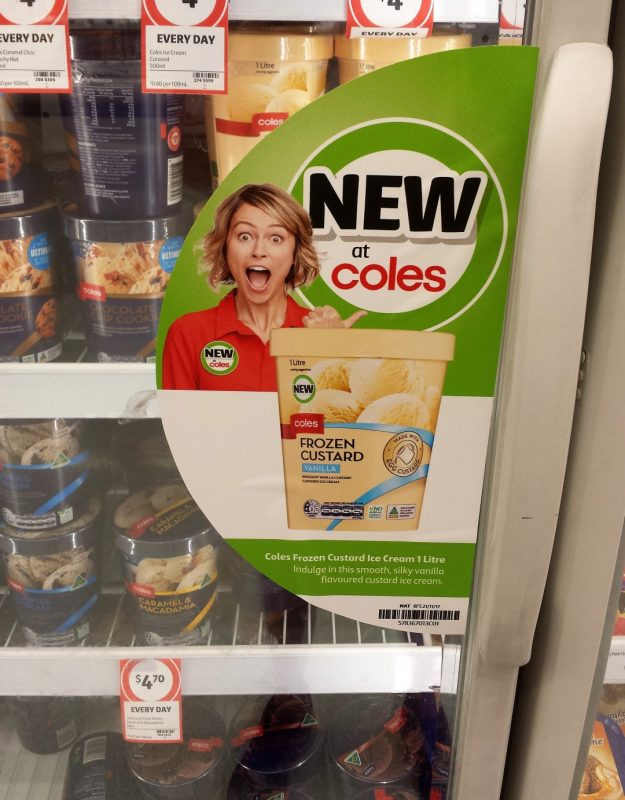 Coles 1L Frozen Custard Vanilla New Girl Jenny