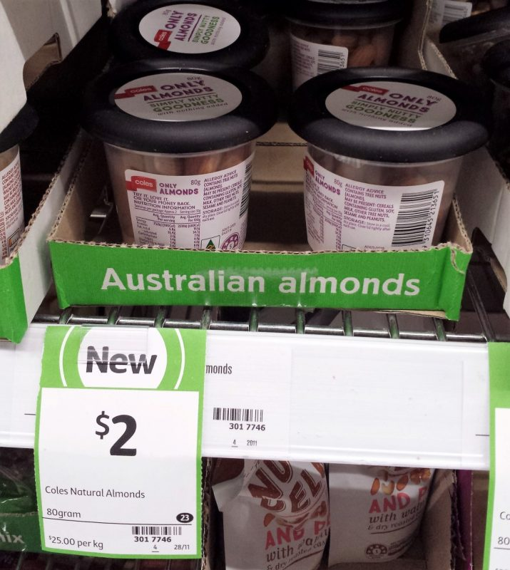 Coles 80g Natural Almonds