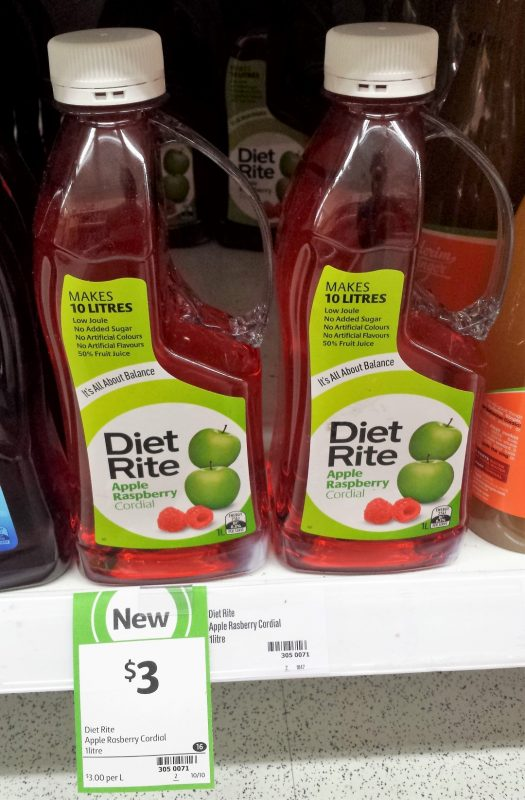 Diet Rite 1L Cordial Apple Raspberry