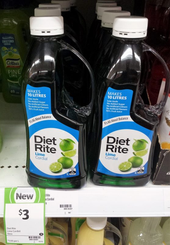 Diet Rite 1L Cordial Lime