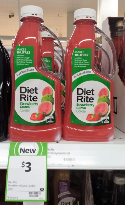 Diet Rite 1L Cordial Strawberry Guava