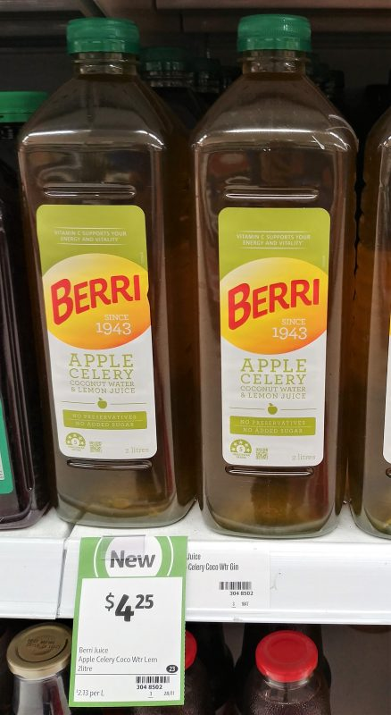 Berri 2L Apple Celery Coconut Water & Lemon Juice