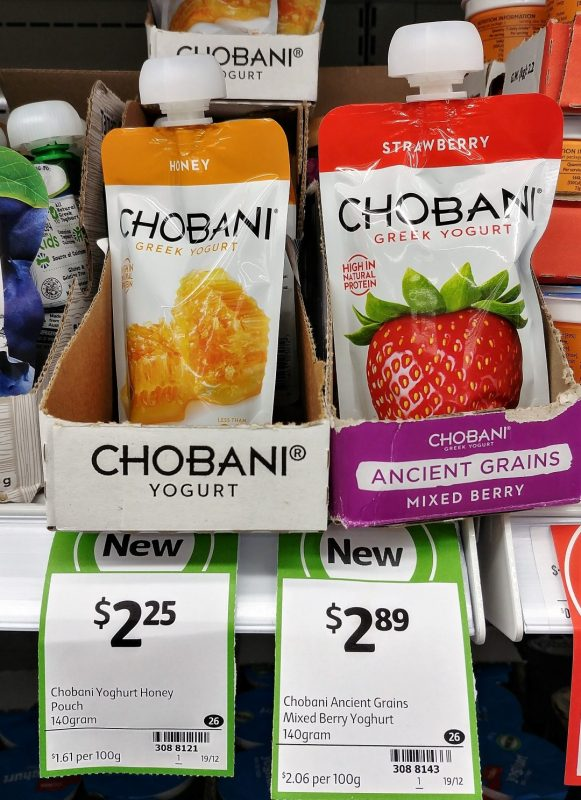 Chobani 140g Greek Yoghurt Pouch Honey, Strawberry
