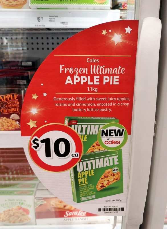Coles 1.1kg Frozen Ultimate Apple Pie Freezer