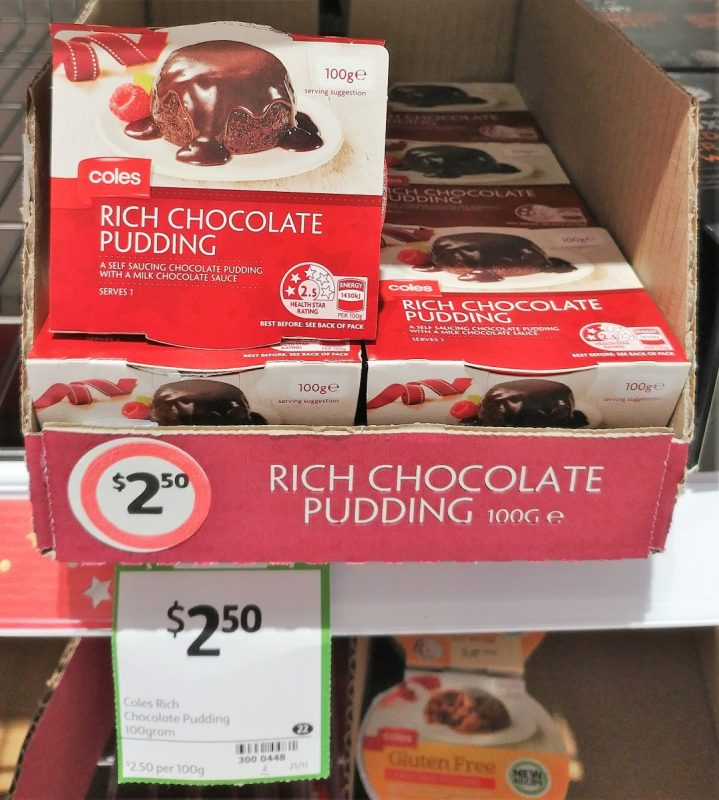 Coles 100g Chocolate Pudding Self Saucing