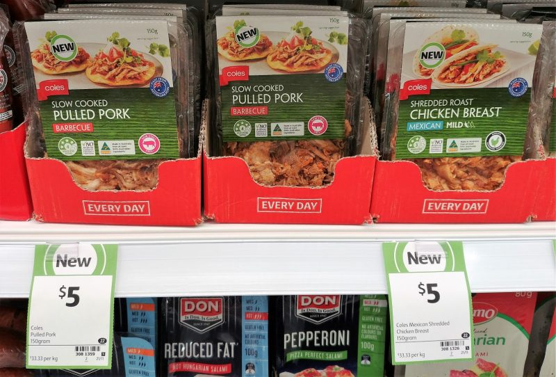 Coles 150g Slow Cooked Pulled Pork Barbecue, Shedded Roast Chicken Breast Mexican Mild