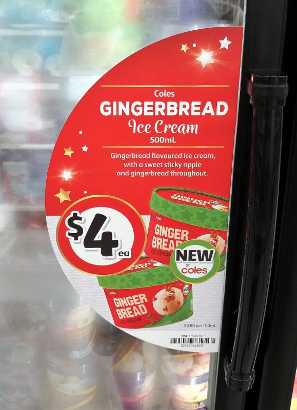 Coles 500mL Gingerbread Ice Cream Freezer Door