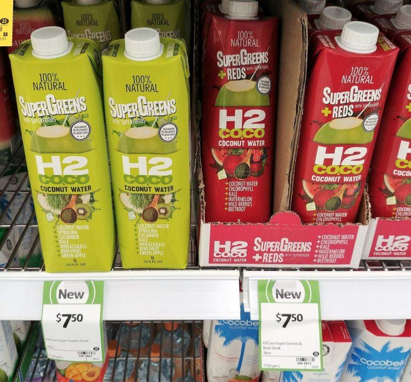 H2 Coco 1L Coconut Water Super Greens, Super Greens + Reds