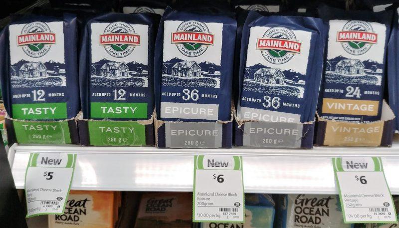 Mainland 250g Tasty, 200g Epicure, 250g Vintage