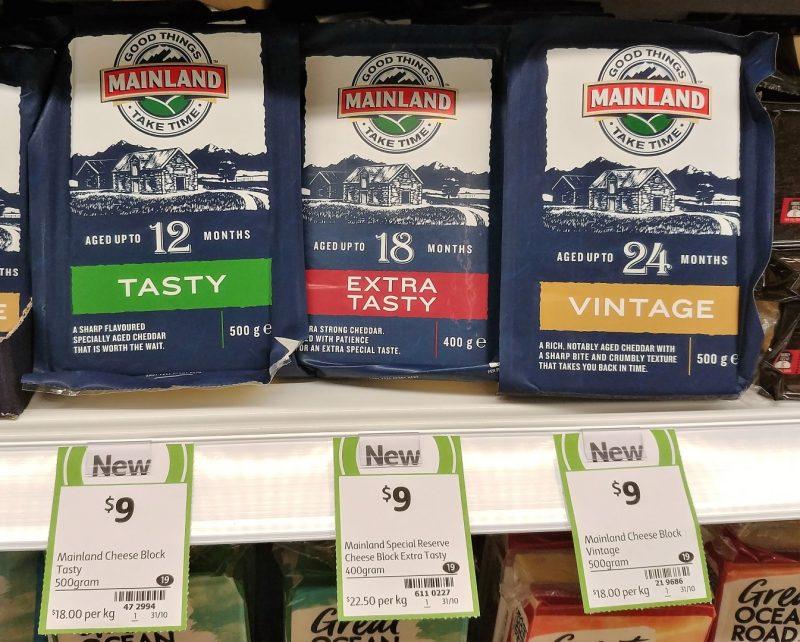 Mainland 500g Cheese Tasty, 400g Extra Tasty, 500g Vintage