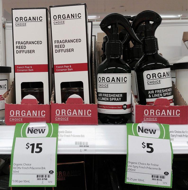 Organic Choice 50mL Fragranced Reed Diffuser French Pear & Cinnamon Bark, 200mL Air Freshener & Linen Spray