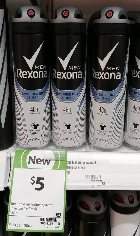Rexona 150mL Antiperspirant Men Invisible Dry Ice Fresh