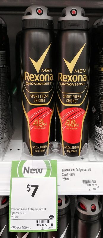Rexona 250mL Antiperspirant Men Sport Fresh Cricket Special Edition