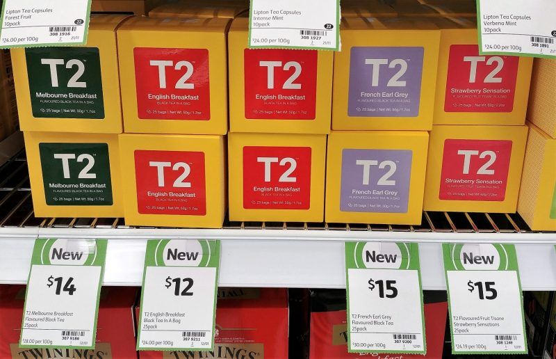 T2 50g Black Tea Melbourne Breakfast, English Breakfast, French Earl Grey, Strawberry Sensation