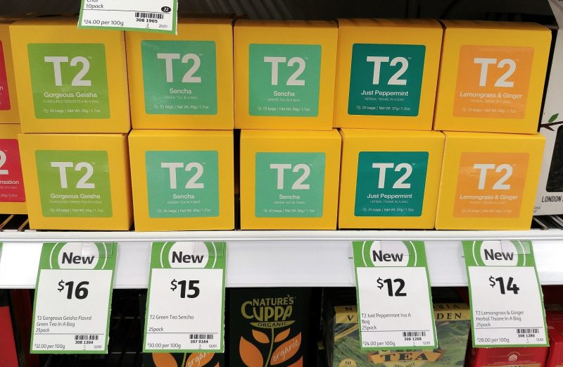 T2 50g Green Tea Gorgeous Geisha, Sencha, Herbal Just Peppermint, Lemongrass & Ginger