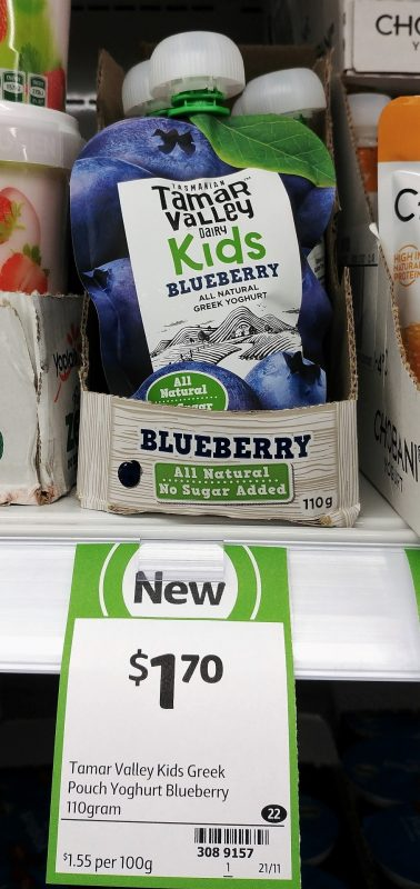 Tamar Valley Dairy 110g Greek Yoghurt Kids Pouch Blueberry