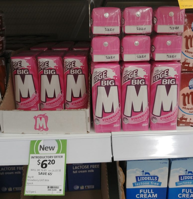 Big M 6 X 250mL UHT Milk Strawberry