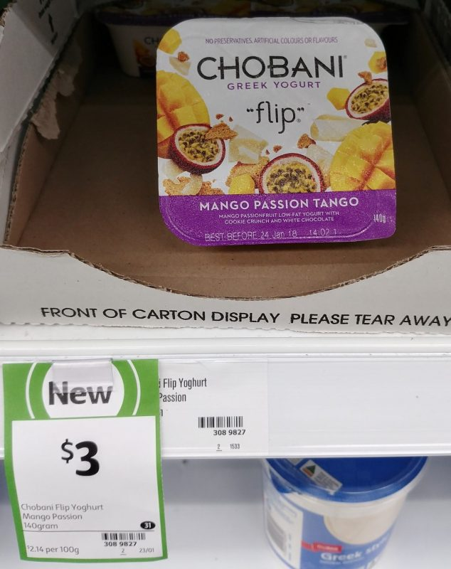 Chobani 140g Greek Yogurt Flip Mango Passion Tango