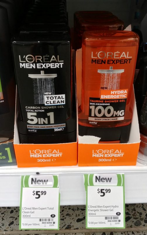 L'Oreal 300mL Shower Gel Men Expert Carbon, Taurine