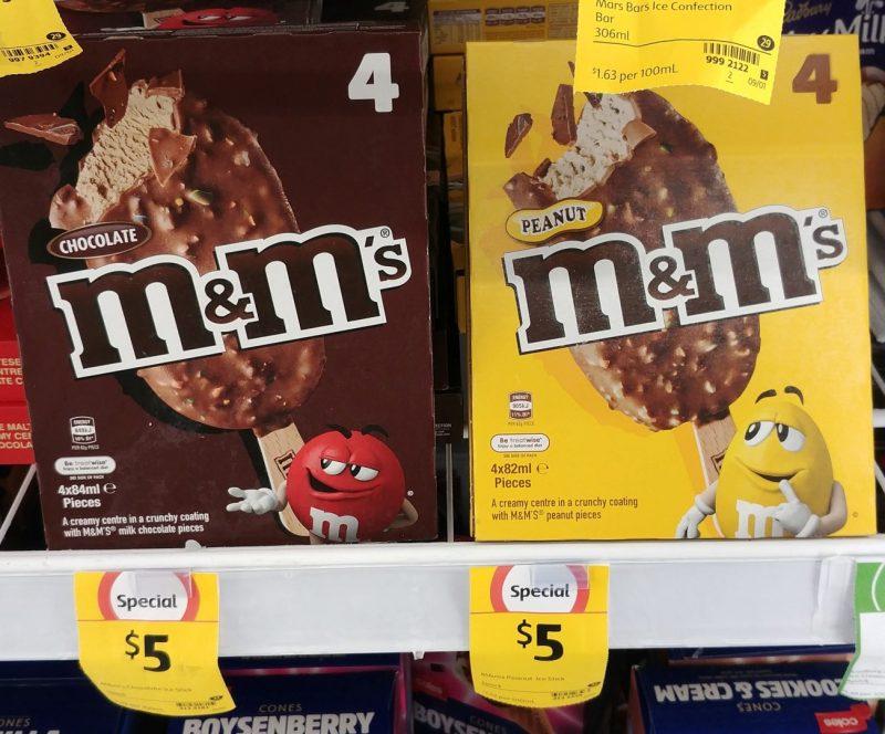 M&M's 4 X 84mL Extruded Frozen Dessert Chocolate, Peanut