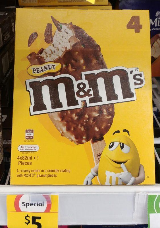 M&M's 4 X 84mL Extruded Frozen Dessert Peanut
