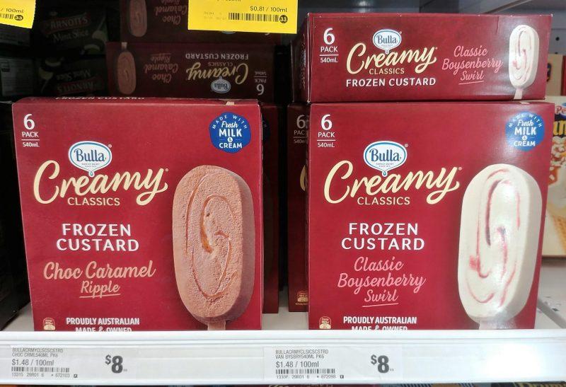 Bulla 540mL Creamy Classics Frozen Custard Choc Caramel Ripple, Classic Boysenberry Swirl