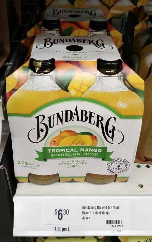Bundaberg 4x375mL Tropical Mango Sparkling Drink