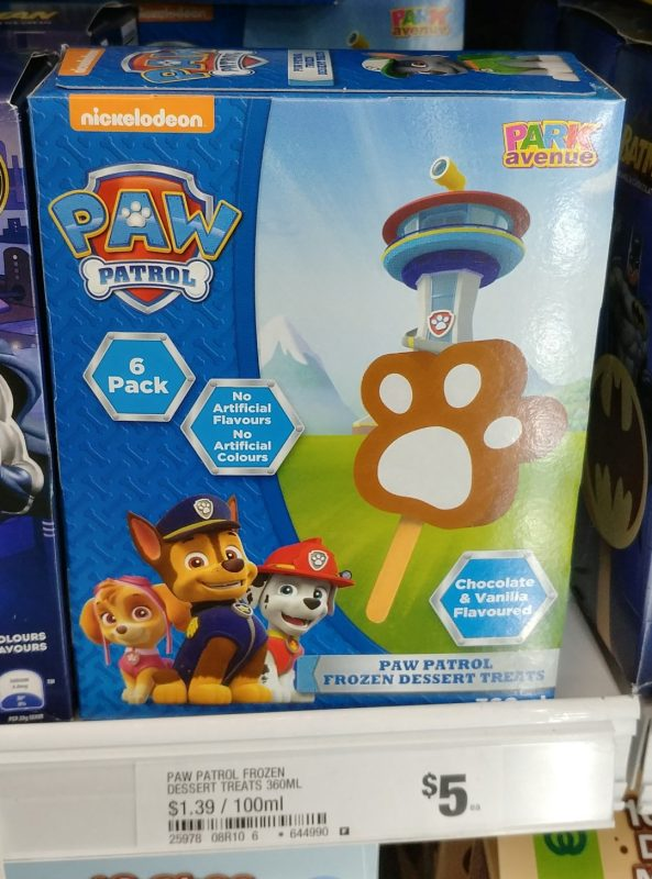 Park Avenue 360mL Paw Patrol Frozen Dessert Treats