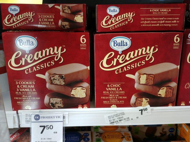 Bulla 540mL Creamy Classics Ice Creams Cookies & Vanilla, Choc Vanilla