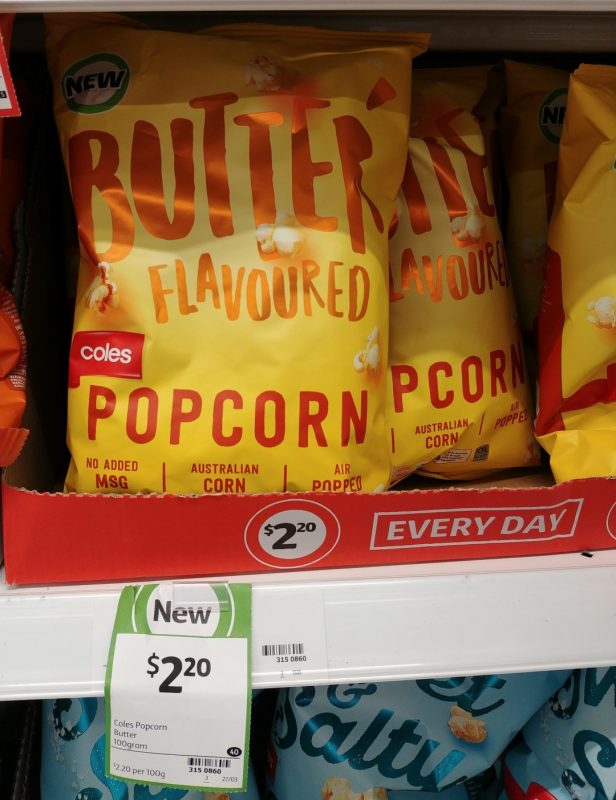 Coles 100g Butter Flavoured Popcorn