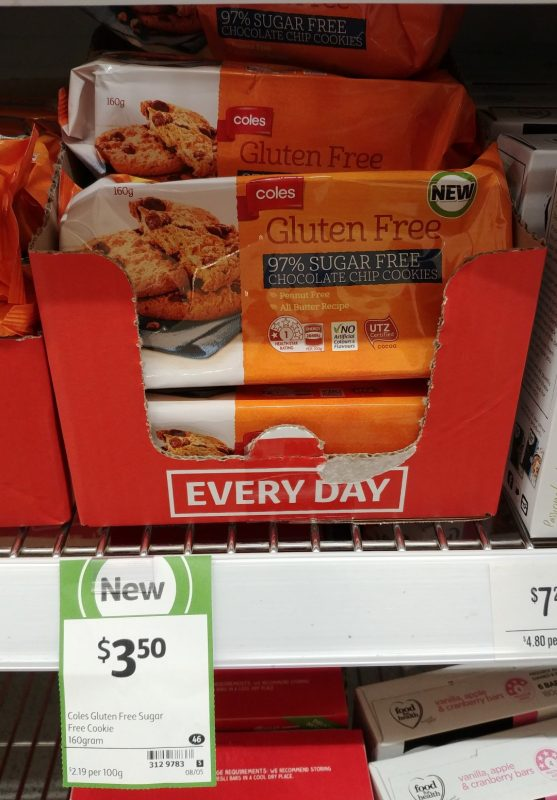 Coles 120g Gluten Free 97% Sugar Free Chocolate Chip Cookies