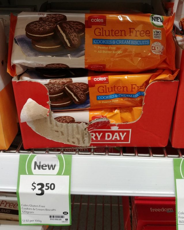 Coles 120g Gluten Free Cookies & Cream Biscuits