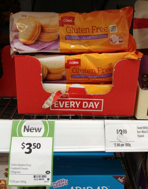 Coles 120g Gluten Free Custard Cream Biscuits