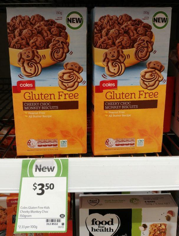 Coles 150g Gluten Free Cheeky Choc Monkey Biscuits