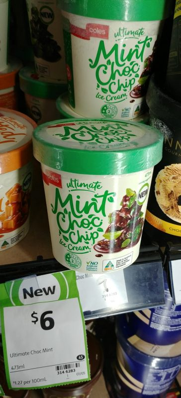 Coles 473mL Ultimate Ice Cream Mint Choc Chip