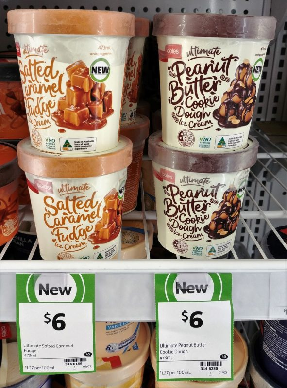 Coles 473mL Ultimate Ice Cream Salted Caramel Fudge, Peanut Butter Cookie Dough